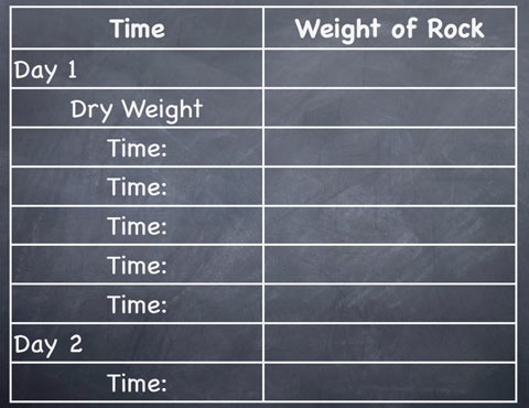Track your rock's weight with a chart like this