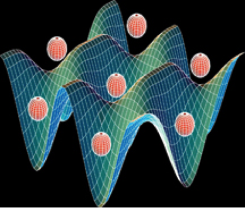 Artistic rendition of atoms in optical lattice
