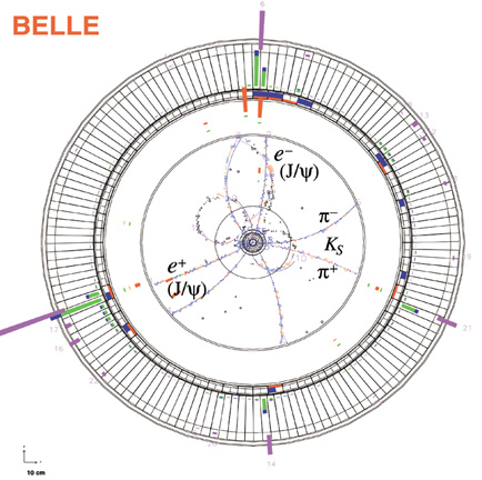 B meson decay candidate at the BELLE detector in Japan. (Image courtesy of BELLE collaboration)