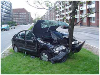 A car accident where the driver ran into a tree.