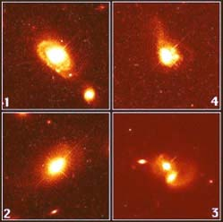 A quasar and its host galaxy (Image courtesy of the Space Telescope Science Institute, operated by the Association of Universities for Research in Astronomy, Inc., from NASA contract NAS5-26555)