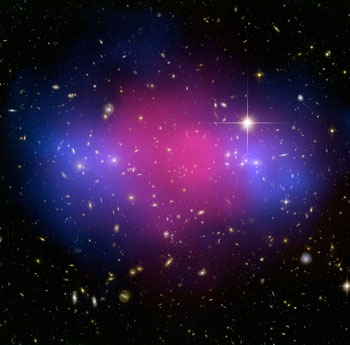 This pair of colliding clusters of galaxies provides confirmation for the separation of dark matter in ordinary matter observed in the Bullett cluster. Image credit: NASA, ESA, CXC, M. Bradac (University of California, Santa Barbara, USA), and S. Allen (Stanford University, USA)