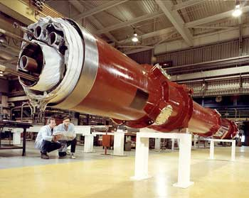 The tubes in the RHIC accelerator are filled with pipes, wiring, and insulation.