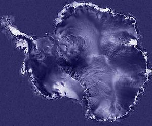 Map of Antarctica produced from radar reflections from the surface of the ice sheet
