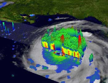 Hot towers in Katrina, as imaged by TRMM. (image courtesy of Hal Pierce-SSAI/NASA GSFC)