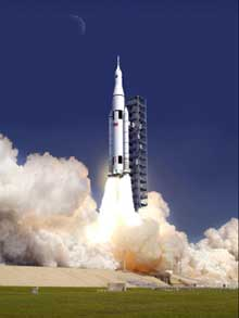 An artist concept of SLS launching. (NASA)