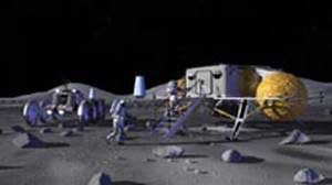 This is an artist's concept of a small lunar outpost. Someday, larger lunar outposts may serve as a backup for civilization in case of a global catastrophe, like an asteroid impact or a pandemic.