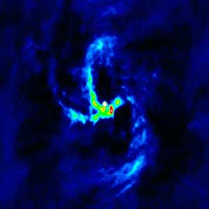 This radio image, made at a wavelength of 3.6 cm, shows the extremely compact radio source