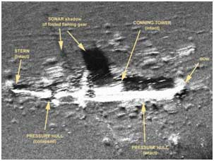 Side-scan sonar image of the remains of the submarine USS O-9 (SS-70) off the Isle of Shoals, New Hampshire in more than 400 feet of water.