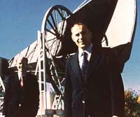 Arno Penzias and Robert Wilson, in front of their microwave antenna at Bell Labs. They won a Nobel Prize for the discovery of the microwave background (photo courtesy of Lucent Technologies, Inc.)