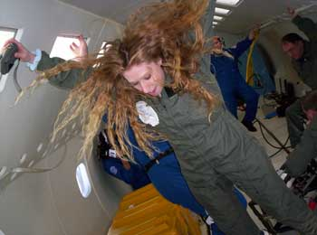 Crazy hair in Zero-G.