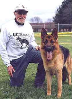 David Landau and one of his German Shepherds