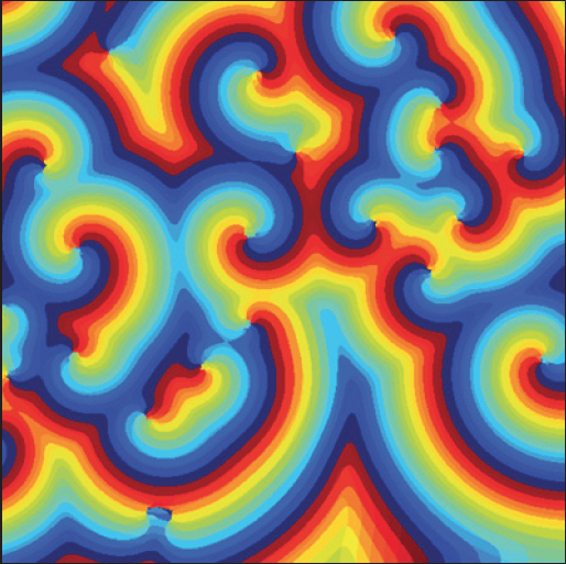 Curling, shelf-fungus-like patterns of colorful stripes. Belousov-Zhabotinsky reactions create weird colorful, geometric spirals.