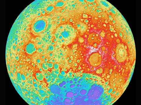 Topographic Moon Map