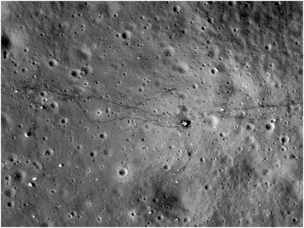 this photo taken from NASA's Lunar Reconnaissance Orbiter shows the marks left behind by Apollo 17