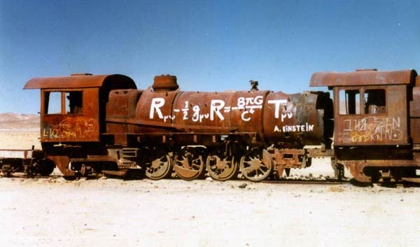 This train has endured space and time to teach physics to those wandering through the Bolivian desert.