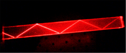 Total internal reflection of a laser beam in an acrylic block.