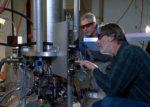NIST physicists with the cesium fountain atomic clock
