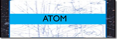 word ATOM superimposed on atomic rings