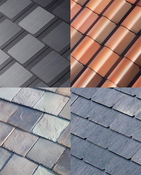 Tesla Motors' solar roof, which comes in four different aesthetic styles.